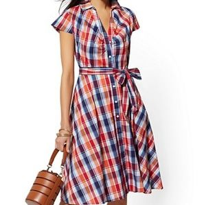 🆕 NY&CO Plaid Swing Shirtdress Dress XXL Retro